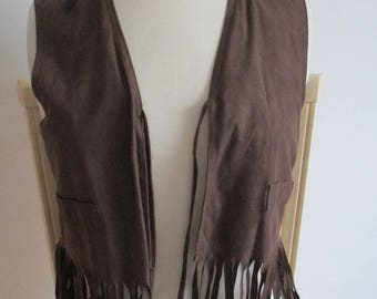 vest with Brown fringe woman or girl