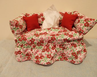 Red Floral Couch Tissue Box Cover