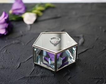 Wedding ring box, Ring pillow, Geometric glass box, Glass ring box,  Geometric jewelry box,  Glass jewelry box (JB16)
