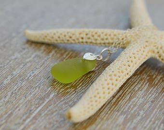 Beach Glass Necklace, Beach Jewellery, Seaglass Jewellery, Unique Jewellery, Gift For Her, Beach Lovers Gift, Yellow Necklace, Unusual Gift