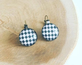"Earrings Cabochon ""Plaid black & white"""