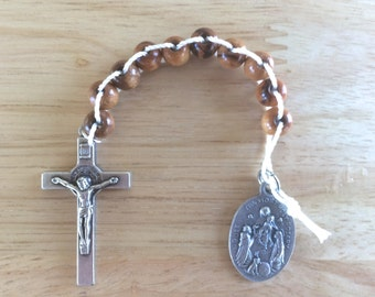 Handmade Catholic One Decade Rosary with Bethlehem Olive Wood Beads, White Cord,  and Our Lady of the Rosary/St. Dominic Medal
