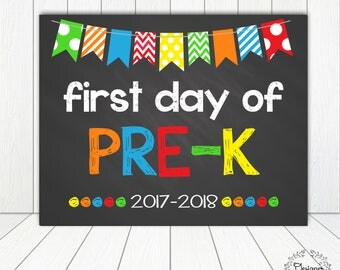 First Day of Pre-K Chalkboard Poster Photo Prop 11x14 Printable Instant Download Digital File