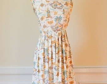 1940s|1950s Novelty Print Dress|1950s Hawaiian Dress/Waist 26""