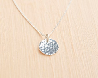 Silver Disc Necklace - Delicate Silver Necklace - Silver Pendant - Hammered Disc Necklace - Dainty Necklace - Silver Circle Necklace