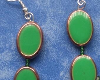 Elegant Green Earrings- beaded, dangle, fish hooks