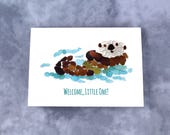 """Sea Glass Otter """"Welcome, little one!"""" New Baby Card - Seaglass Art Mosaic Print, Blank Inside"""