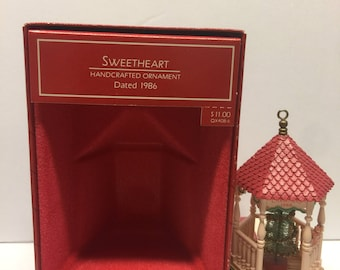1986 Hallmark Sweetheart Gazebo Keepsake Ornament Complement to Nostalgic Houses and Shops Series in box Vintage, Christmas ornaments