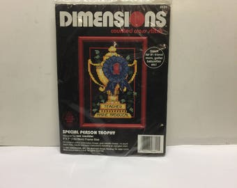 Vintage Cross Stitch, Dimensions Cross Stitch Kits, Special Person Trophy Counted Cross Stitch Kit, 5 x 7 Dimensions 6621 by Sue Roedder
