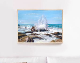 Sea Oil painting framed art landscape Gift Birthday Painting Oil painting Framed art original painting sale gallery wrapped valentine's day