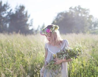 Vecpiebalgas Treasure in Natural Linen - Linen Nightdress/linen nighty/linen nightgown