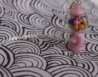 Necklace, chain pendant chewing gum machine light pink