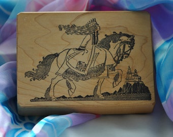 Medieval Princess on a Horse  Rubber Stamp   Vintage
