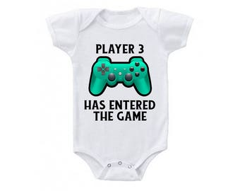 Player 3 Has Entered The Game, Nerdy Baby Clothes, Baby Announcement, Pregnancy Revealed, Coming Home Outfit, Funny Baby Clothes, Hipster