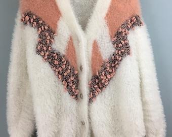 Vintage 1980s HANDMADE white pink fuzzy cardigan jacket Large