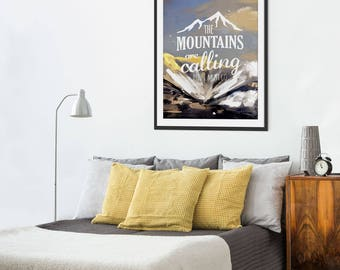 Mountain Print. Snowboarding. Mountain Art. Mountain Painting. Mountain Gifts. Typographic Print. Wall Art. Wall Decor.