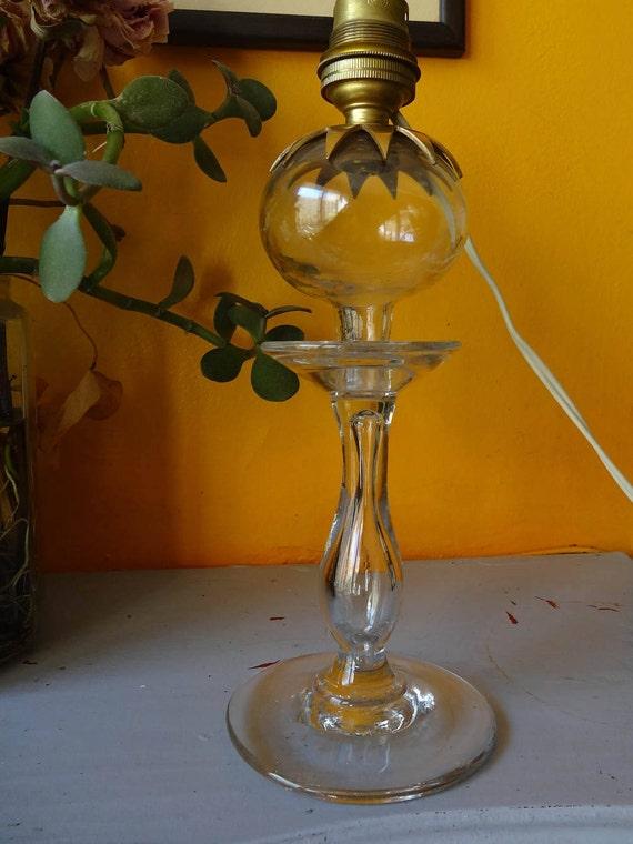 ancienne lampe huile proven ale du xix en verre souffl. Black Bedroom Furniture Sets. Home Design Ideas