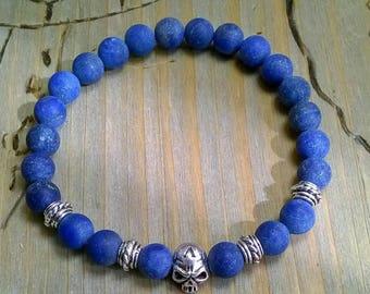 Bracelet Lapis skull blue silver