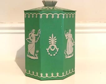 Vintage Murray Allen Candy Tin, Vintage Green Tin, Greek Goddess Silhouettes, Mid Century Decorative Tin, Wedgewood Tin, Biscuit Tin