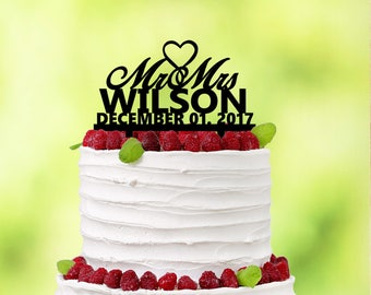 Personalized Wedding Cake Topper - Black Cake Topper - Classic Wedding - Traditional Wedding - Summer Party - Personalized Cake Topper