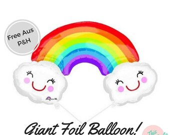 Rainbow Smiling Cloud Balloon Birthday Baby shower Party Decorations!