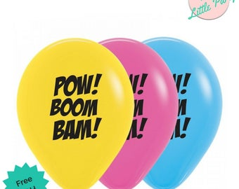 6 x Super Hero Balloons Birthday Party Boom Pow Zap