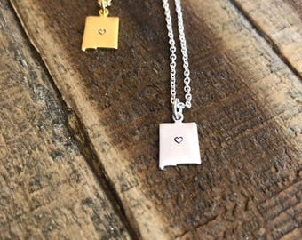 New Mexico Charm Necklace, New Mexico State Shape, NM Necklace, I heart New Mexico, Silver, Gold