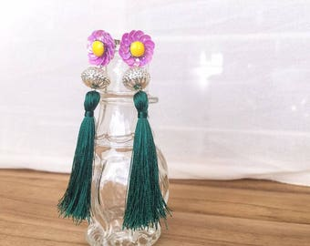 Daisy Sequin Flower Emerald Green Tassel Earrings