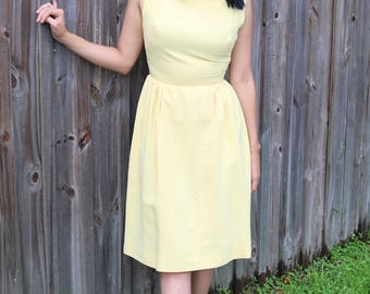 Pale Yellow 1960s Fit and Flare Dress
