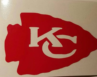 Kansas City Chiefs Football Decal - perm vinyl - perfect for Yeti & Rtic cups, coolers, windows, etc. Take it tailgating! Man cave decor!
