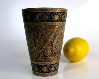 Antique / Indian / Kashmir / Copper Inlaid / Engraved Bidri Cup / Lassi Cup / Beaker / Rare / Collectibles / Indian Cup / Glass/ 4 1/2""