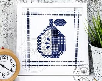 QUILT PEAR. Pear printable wall art. Pear printable wall decor. Digital print. Home decor. Pear digital print art.© Blue Owl Land