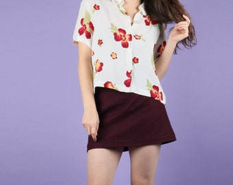 Sweet 90s JIGSAW Floral Cropped Shirt Blouse