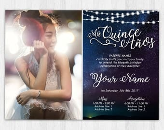 Printable Invitation - Quinceañera, Sweet 16, Rustic, Starry Night Sky Twinkle Lights