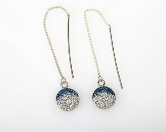 Round Radience Pave Threader Earrings, Sterling Silver, Swarovsky Crystals, Blue Gradational Pattern, Adjustable Length of Dangle Earrings