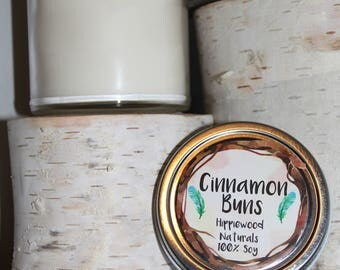 8oz Warm Cinnamon Bun Hand-Poured 100% Soy Wax Candle with Cotton Wick