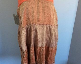Vintage bohemian skirt gold and orange