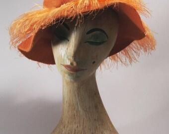 Vintage Hat / 1960s hat / 60s hat/ vintage 60s hat / orange vintage hat