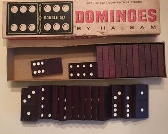 Vintage Dominoes, Vintage Wood Dominoes, Double Six Dominoes, Halsam Products