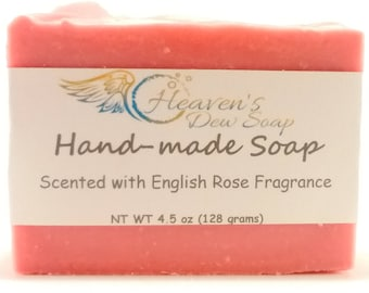Handmade English Rose Soap, Cold Process, Bridal Shower, Wedding Favor, Baby Shower, Gift Soap, Wholesale Available, Bitcoin Accepted Here