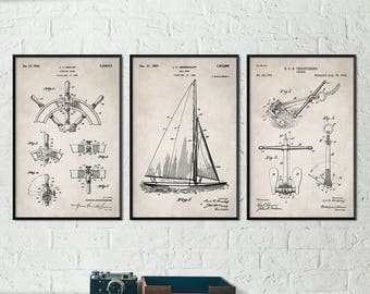 Nautical Decor, Beach Decor, Beach House Art, Nautical Bathroom Decor, Boat Decor, Sail Boat Art, Sailing Art, Sailing Patent Prints S015