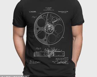 Movie T-Shirt, Film Reel Shirt, Film Patent T Shirt, Movie Gift For Movie Lover, Gift For Film Fan Cinema Lover Cinema Fan P089