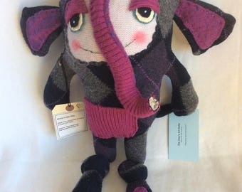 Wooly Critter Elephant named Ellie, recycled wool sweater stuffy