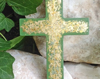 Gold Leaf Wooden Cross  - Modern Wall Cross - Green Decorative Wall Cross - Adult Baptism Gift - Small Wall Cross - Unique Painted Cross