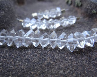 Clear Raw New York Herkimer Diamond Quartz | Double Terminated Side Drilled Faceted Points | 7-10mm | Sets of 4, Sets of 8, Sets of 12