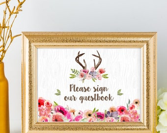 "Printable Wildflowers Faux Bois Rustic Deer Antlers Guestbook Sign In - 2 Sizes: 10""x8"" and 7""x5"" Signs, JPG Instant Download (NOT EDITABLE)"