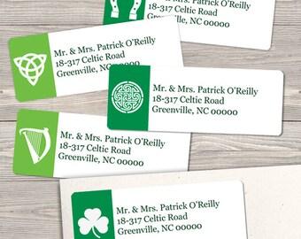 "Printable St Patricks Day Celtic Symbols Return Address Labels, Green, 30 Personalized 2 5/8"" x 1"" Labels, Editable PDF, Instant Download"