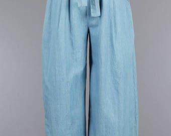 Wide Leg Culotte Chambray Style Tie Front Pants/Custom Women Wide Leg Tie Waist Pants