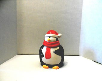Winter Christmas Penguin Wearing Red Scarf and Red and White Santa Hat Cookie Jar  Kitchen Decor, Holiday Decor,Collectible  1705