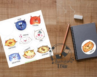 Reusable stickers the EMOTIONS, cats, fear, joy, pride, disappointment, anger wall art, gifts, birthday, anniversary, baby shower